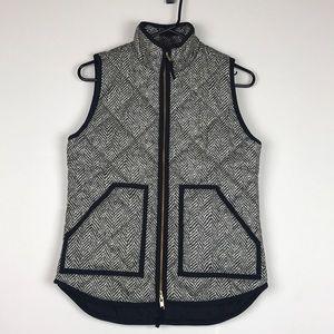 J crew herringbone vest jacket zip up quilted